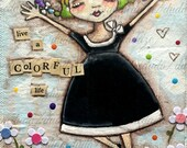 Original Folk Art Mixed Media Painting - Colorful Life - Free U. S. shipping