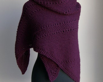 Custom Made Hand Knit Large Shawl Wrap, Stylish Comfort Prayer Meditation, Triangle, Soft Merino Cashmere, FREE SHIPPING