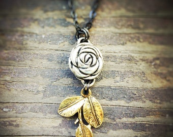 Rosebud Mixed Metals Necklace