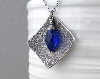 Statement Necklace Cobalt Blue Necklace Sterling Silver Necklace Blue Gemstone Jewelry Bohemian Jewelry Birthday Gift for Women - Contrast