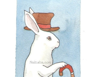 Original Watercolor Rabbit Painting - Hat and Cane - ACEO