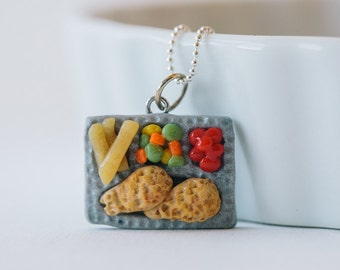 Retro TV Dinner Necklace - polymer clay miniature food jewelry