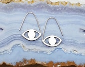 Evil Eye Earrings, Sterling Silver Eye Jewelry, modern hoop earrings, metalsmith ancient talisman symbols