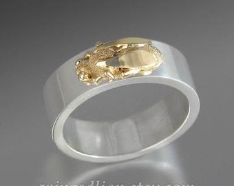 HONEY BEE mens ring silver and 14k gold honeybee unisex wedding ring