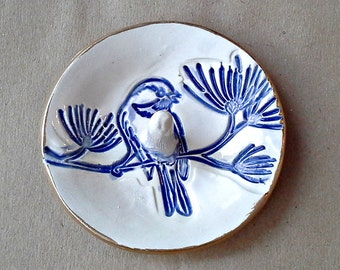 Ceramic Bird Ring Holder Bowl  Blue edged in gold