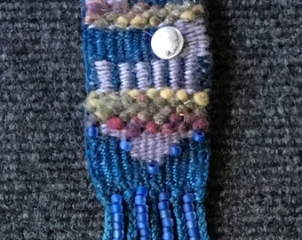 Hand Dyed Hand Woven Necklace with Indian Head Coin Charm in Blues Copper Chain