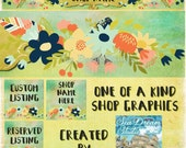Cheerful Flowers Etsy Shop Banner and Avatar by Sea Dream Studio one of a kind