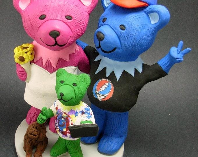 Jerry Bears with Cub Grateful Dead Wedding Cake Topper,Custom Grateful Dead Dancing Bears Wedding Cake Topper, Jerry Bear Wedding CakeTopper