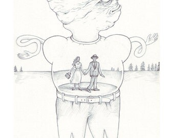 Exquisite Corpse #28 | Art Print | Drawing by Marie Gardeski and David Birkey