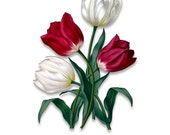 Vintage Flower Printable - Red and White Tulip - Wall Art - Collage Art - Resolution - Craft - Print - DIY - PNG - Transparent - A283