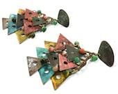 80s LONG Enamel Earrings / Ethnic Avant Garde Primitive Painted Brass Dangle Triangle Studio Artisan Earrings / Bohemian Gypsy Chandelier