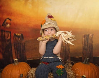 Thanksgiving baby scarecrow costume photography prop 18 months and 24 months