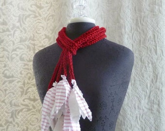 The Lily Lariat in red - Crocheted Scarflette - Ready to Ship