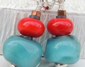 Lagoon Handmade Lampwork Bead Earrings