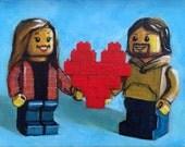 Custom Valentine Couple's Toy Portrait, 8x10 acrylic on canvas