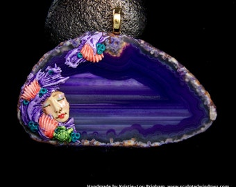 Mermaid Sea Turtle Pendant Purple Agate and handmade OOAK polymer clay sculpture