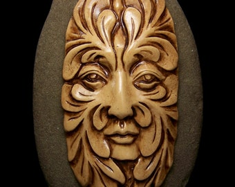 Large Greenman Face Cab Cabochon handmade Antiqued ecru & Brown polymer clay 65x35mm