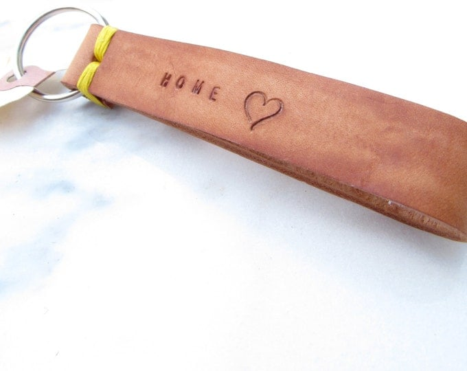 Clearance Sale: **READY TO SHIP** 'Home' Heart Stitch Leather Keychain.
