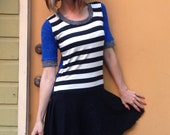 Woman's Circle Skirt Dress Spicy Toast striped black white blue small/medium