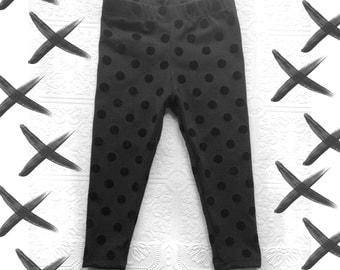 BEST baby kids leggings Black polka dot velvet flocked leggings Supayana