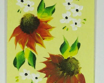 Hand-painted Magnetic Bookmark - Sunflowers and Daisies - No. 1197