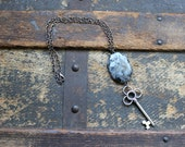 Larvikite & Skeleton Key Simple Necklace