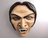 Vlad - Hand painted - cement cast - Wall Decor - Sculpture - Vampire - Monster - Face - horror - wall hanging - hydrocal - gypsum - cement