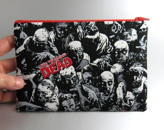 The Walking Dead - Zippered Pouch - Zippered Purse - Makeup Bag - Pencil Case - Zombies - Comic Book - Horror