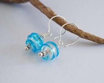 Blue Murano Earrings Blue Swirl Glass Dangles Murano Glass Sterling Earrings Venetian Glass Aqua Blue Silver Earrings Blue Glass Drop