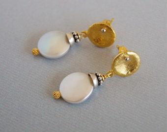 Gold Vermeil Pearl Earrings White Coin Pearl Gold Pearl Earrings Wedding June Birthday Bridal Earrings Gold Vermeil Mixed Metal Pearl
