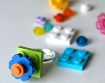 Play Day Lego Ring in Lime Green: Build Your Own LEGO Jewelry