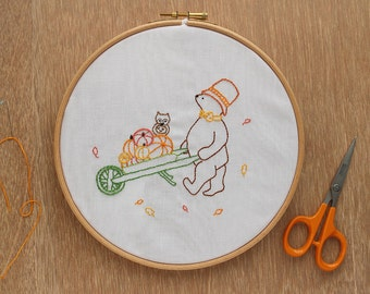Favourite Autumn Moment - Hand Embroidery Pattern - PDF Pattern - Pumpkin Halloween Embroidery - Instant Download Pattern