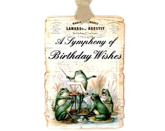 Birthday Gift Tags , Happy Birthday Tags , Frog Tags , Vintage Tags , Musical Frogs , Whimsicle Frogs , French Frogs , Singing Frogs