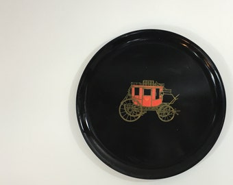 Couroc Tray ~ Monterey Art ~ Phenolic Tray ~ Red Carriage Tray ~ Carriage Inlay Tray ~ Black Tray ~ Black Couroc Tray ~ Monterey