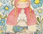 Art Print of Little Red Riding Hood, nursery artwork, Cori Dantini for Blend fabrics, Little Red Collection, Archival Limited edition