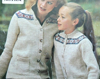 Cardigan Knitting Pattern Mother Daughter Patons 1920 Sizes 26 - 40 Inches 66 - 102 cm Women Children Sweater Paper Original NOT a PDF