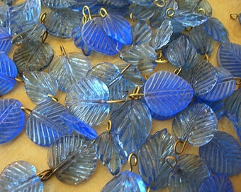 Pressed Glass Leaf Charms brass metal loops COBALT BLUE lot of 12 leaves assorted styles