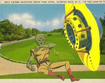 Geek Gift for Comic Book Lover, UFO Artwork, Little Green Man, Pop Culture Artwork, SciFi Space Alien Art, Sci Fi Art Oddity