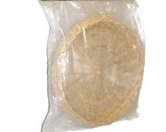 Rattan Bamboo Paper Plate Holders NIP Set of Four
