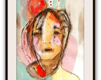 "Original Painting, Illustration Portrait Painting, Original Abstract Portrait  Painting, Collage Art  ""Her Anger"""