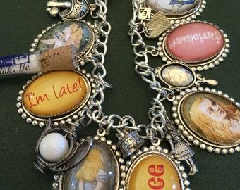 Alice Charm Bracelet, Alice in Wonderland Charm Bracelet, Silver Alice Charm Bracelet, Alice in Wonderland Bracelet,Alice in Wonderland Gift