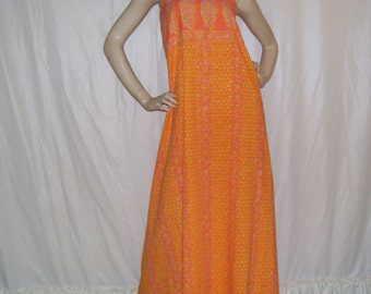Hippie Maxi Sundress Orange Sari Batik Stripe Upcycled Vtg Sheet Paisley Print Festival Long Dress Adult S M L XL