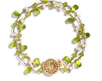 Peridot & Pearl Bracelet, Double Strand, 14k Goldfill, August birthstone, Semi-precious gemstones