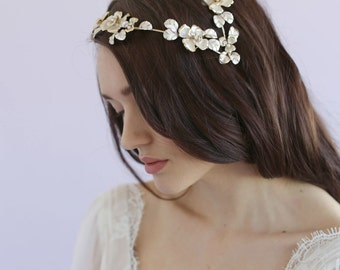 Bridal headpiece - Juliet gilded floral cap - Style 624 - Ready to Ship