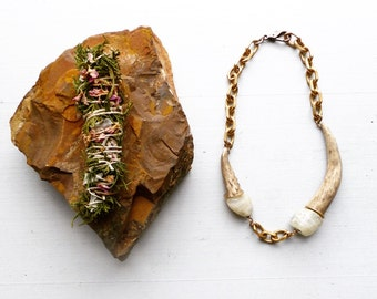 Moonstone//Double Antler assemblage necklace//Naturally shed//Collar necklace//OOAK//One of a kind//Handmade in USA//by Broad Street