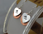 HORSE critter love hand stamped layered copper and aluminum mixed metal french hook earrings