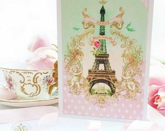 Eiffel Tower card, Bonjour from Paris, birthday card, pink, mint green, French card, friendship card, fleur de lis, card for her, hello card