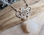 The Snow Angel - Ornate Druzy and Moonstone Wirework Necklace