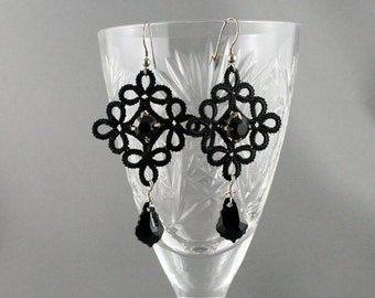 Glam evening earrings. Romantic earrings with lace and black Swarovski crystals