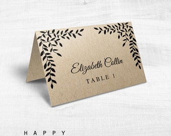 Printable Wedding Table Place Cards, Editable Wedding Table Place Cards Template PDF files - Rustic Leaves